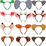 12 Pieces Zoo Animals Ears Headband Jungle Safari Animals Hairbands Cosplay Hair Hoop for Birthday Party Christmas Halloween Costume