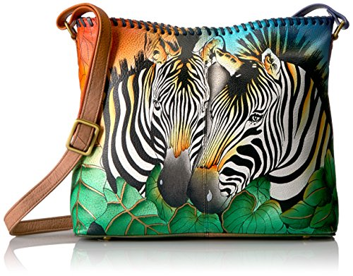 Anna by Anuschka Women's Genuine Leather Medium Shoulder Bag | Hand Painted Original Artwork | Zebra Safari ()