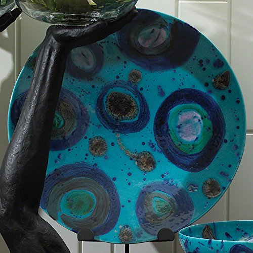 Modern Peacock Blue Spots Ceramic Charger Plate | Serving European Abstract