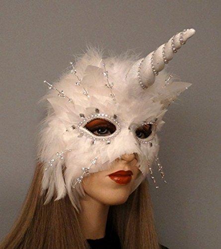 Unicorn Spirit Feather Masquerade Mask -