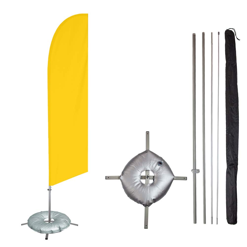 Vispronet - Yellow Solid Feather Flag Kit - 13.5ft Knitted Polyester Swooper Flag with Pole Set, Cross Flag Base and Weight Bag - Dyed in The USA