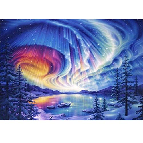 MXJSUA DIY 5D Diamond Painting by Number Kits Full Round Drill Rhinestone Embroidery Cross Stitch Picture Art Craft Home Wall Decor Aurora ()
