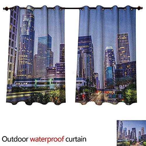 - City 0utdoor Curtains for Patio Waterproof Los Angles California Skyline Urban USA Cityscape Skyscrapers Highway Avenue Trees W55 x L72(140cm x 183cm)