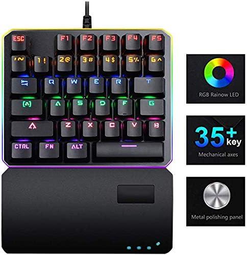 片手用メカニカルゲーミングキーボードレインボーRGB LEDバックライト付きハーフキーボードマルチメディアファンクションキーミニポータブル35キーリストレスト付きコンピューター/ PC/ラップトップ