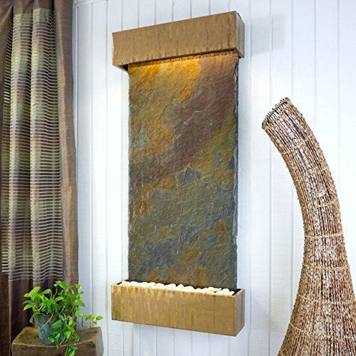 Water Wonders Large Nojoqui Falls Jeera Slate with Copper Patina Trim (Slate Patina Copper)
