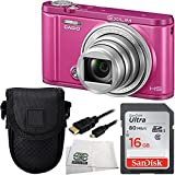 Casio Exilim Selfie Digital Camera EX-ZR3600 (Vivid Pink) 16GB Bundle 4PC Accessory Kit. Includes Sandisk Ultra 16GB SDHC Memory Card + Micro HDMI Cable + MORE