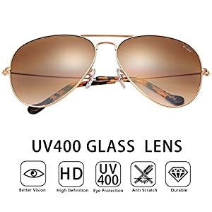 O-LET Aviator Sunglasses for Women Men with Glass Lens Aviators UV400 Protection