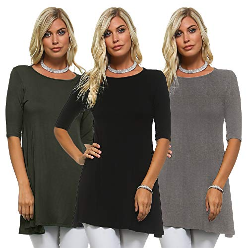 Isaac Liev Women's 3/4 Sleeve Tunic Top – Pack of 3 Swing Flowy Long Shirts (Large, Charcoal, Black & Olive) from Isaac Liev
