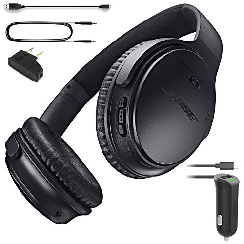 Bose QuietComfort 35 Bluetooth Wireless Noise Cancelling Headphones - Black & Car Charger - Bundle