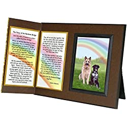 """Pet Lover Remembrance Gift, """"Rainbow Bridge"""", Memorial Pet Loss Picture Frame and Sympathy Gift Package, with optional custom photo editing, Rich Dark Brown with Foil Accent"""