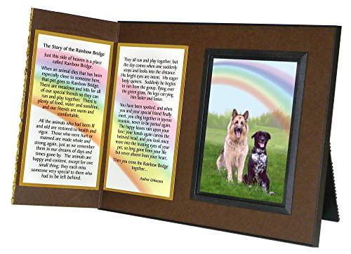Pet Lover Remembrance Gift, Rainbow Bridge Poem, Memorial Pet Loss Picture Frame Keepsake and Sympathy Gift Package, Rich Dark Brown with Foil Accent