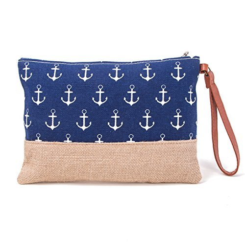 - Sweetypplain Makeup Bag Straw Cosmetic Bag Anchor Print Good for Beach Travel (NAVY)