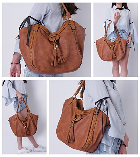 with Top Mn Large Hobo Satchel Roomy Purse Handbag Bag Brown Tassel Shoulder Women��s Handle Leather amp;Sue Tote 6TqRf