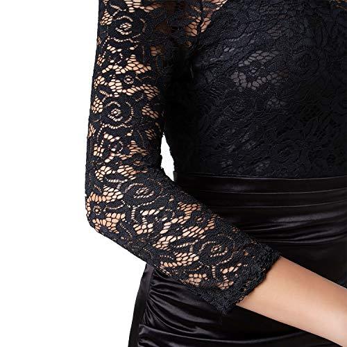 1d050997de83 Sirhao Maxi Dress Vintage Dress Black Long Sleeve Dress Floral Lace Round  Neck 2/3