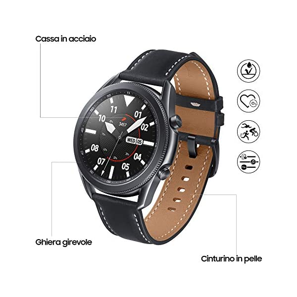 Samsung Galaxy Watch3 Smartwatch Bluetooth, cassa 45mm acciaio, cinturino pelle, Saturimetro, Rilevamento cadute… 2