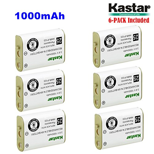 Kastar HHR-P103 Battery (6-Pack), Type 25, NI-MH Rechargeable Battery 3.6V 1000mAh, Replacement for Panasonic HHR-P103 / P-P103, AT&T, GE, Vtech Cordless phone (Detail Models in the Description) ()