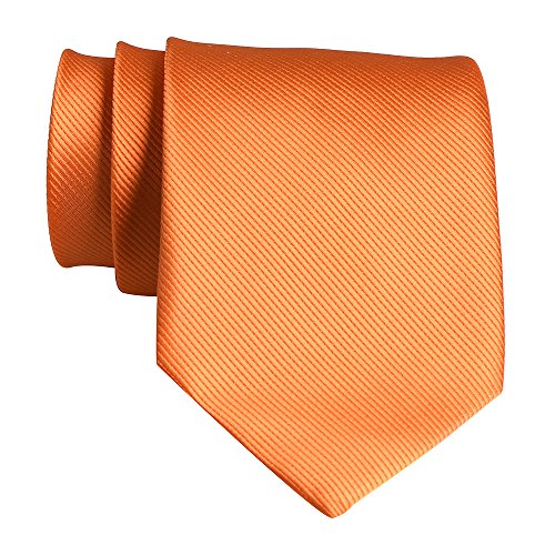 QBSM Mens Polyester Solid Color Dress Suit Neckties Neck Ties Orange for Father's Day Gifts