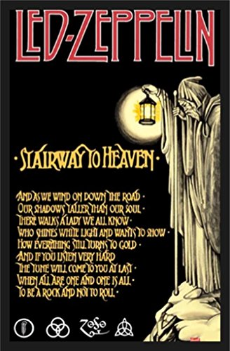 buyartforless IF PW 15991 36x24 1.25 Black Plexi Framed Led Zeppelin Stairway to Heaven 36X24 Music Art Print Poster Wall Decor Classic (Concert Art)