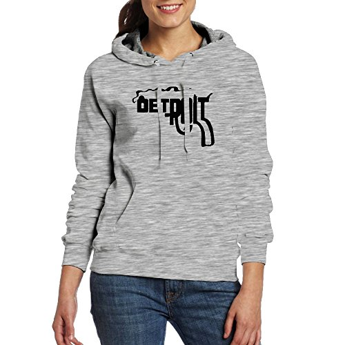 (Lenajty Hoodie Detroit Smoking Gun100% Cotton Women Hoodie Graphic Pullover Hooded With Pocket)