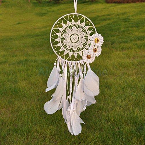 White Flower Tassel Feather Dream Catcher Holy Night Bad Dreamcatcher Gifts by alpinetopline