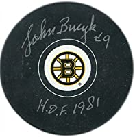 "Johnny Bucyk ""HOF 1981"" Autographed Boston Bruins Puck - Autographed NHL Pucks"