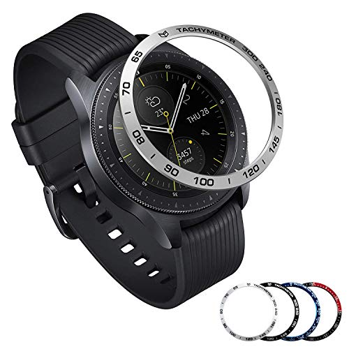 [Aluminum] Galaxy Watch 46mm Bezel Styling, Galaxy Gear S3 Frontier & Classic Bezel Ring Adhesive Cover Anti Scratch Aluminium Protection Tachymeter, Design for The Galaxy Watch Accessories - Silver