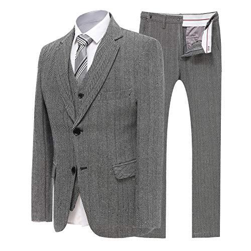 YBang Men's 3 Pieces Suit Blazer Tweed Herringbone Single Breasted Vest Pants ()