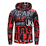 Men's Autumn Long Sleeve Printed Casual Hoodie Sweatshirts Sports Pullover Soft Hooded