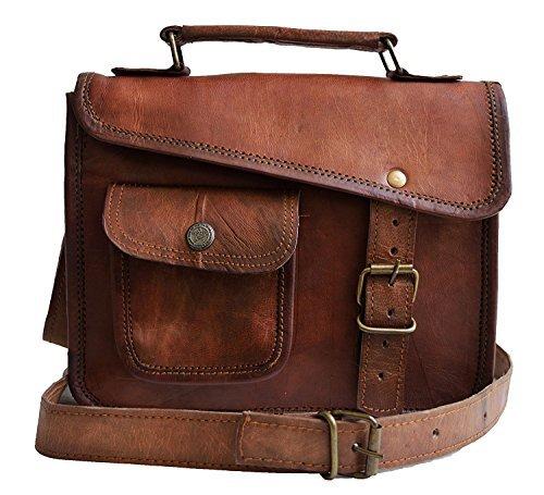 MNI small Leather messenger bag shoulder bag cross body vintage messenger bag for women & men satchel (10 x 13)