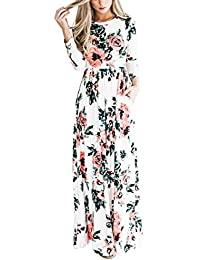 Women's 3/4 Sleeve Floral Dress Casual Stretch Maxi Long...