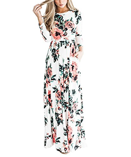 YUMDO Women's Floral Print Long Sleeve Dress Crew Neck Dresses White M