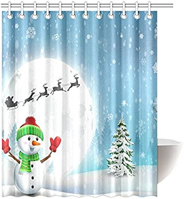 Amazon Christmas Shower Curtain Decorations Happy Snowman 72X80 Inches By JackieTD Home Kitchen