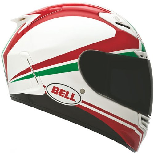 Bell Race Day Star Street Bike Motorcycle Helmet - White/Red/Green/X-Large