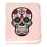 Truly Teague Baby Blanket Floral Sugar Skull Day Of The Dead - Petal Pink
