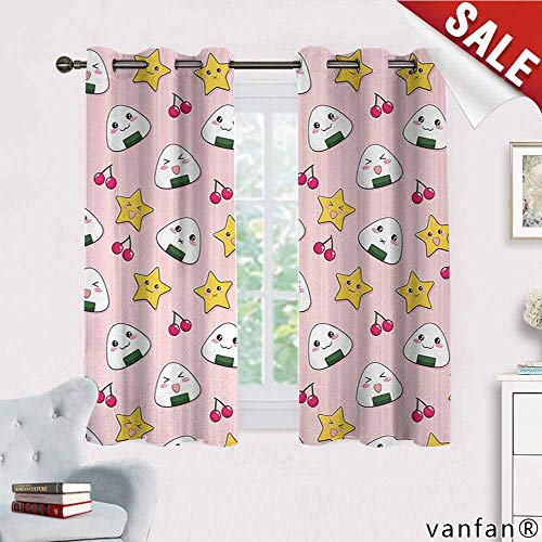 - Big datastore Anime, Curtains for Girls Bedroom,Happy Crying Cute Cartoon Rice Balls Cherries Stars Pattern on Stripes Art, Curtains to Block Out Heat, W63 x L63 Pink Yellow and White