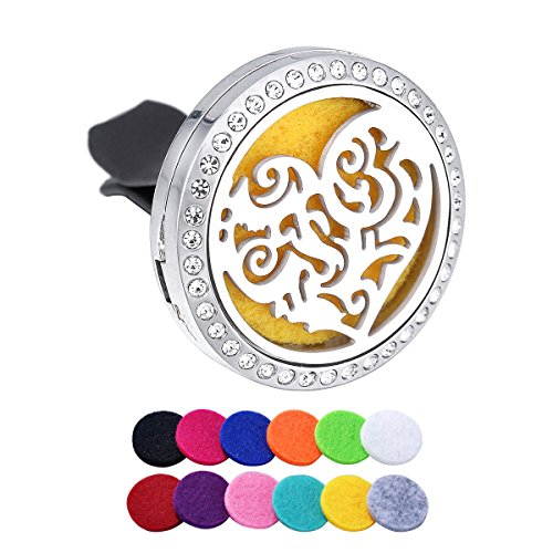 Retro Pattern Heart Rhinestone Aromatherapy Car Air Freshener Stainless Steel Essential Oil Diffuser Car Vent Clip 12 Refill Pads