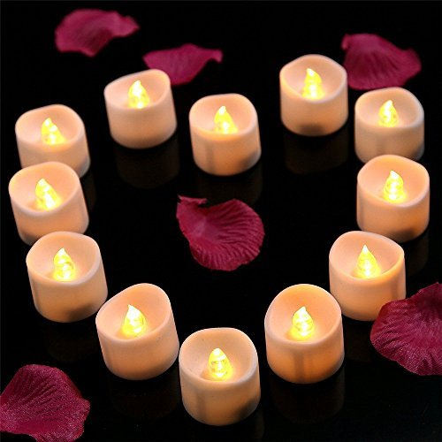 Onlyhome Battery Operated LED Tea Lights, Pack of 24, Flickering Flameless Candles with Warm White Flickering Bulb light, Small Electric Fake Tea Candle Realistic for Wedding, Table, Gift,Outdoor