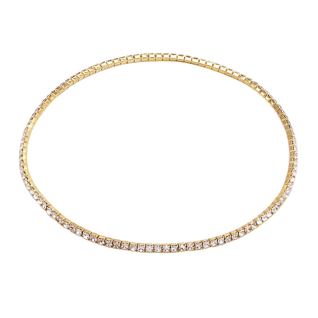 Rosemarie Collections Women's Single Strand Crystal Ankle Bracelet (Gold)