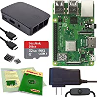 Viaboot Raspberry Pi 3 B+ Complete Kit — Offical 32GB MicroSD Card, Official Rasbperry Pi Foundation Black/Gray Case Edition