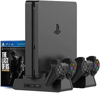 TaSeux Estar Soporte Vertical para PS4 Slim/Pro/Regular PS4 Cargador con 3 Juegos de Ventiladores de Almacenamiento, Estación de Carga Doble EXT para la Consola Playstation 4 Accesorios del contro: Amazon.es: Electrónica