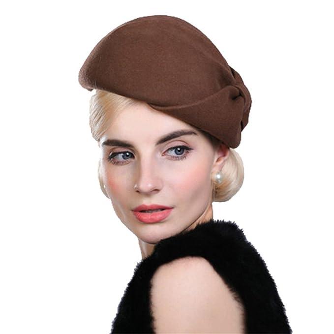 Donna Ragazze Moda Autunno Inverno Fiocco Nodo Berretto Cappello Di Feltro  Marrone Chiaro 86e9a4e6151c