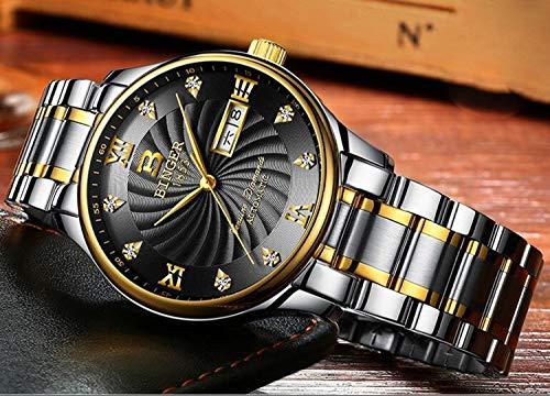 BINGER mäns automatiska mekaniska märke män klocka safir armbandsur, färg E
