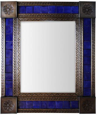 Amazon Medium Brown Cobalt Tile Mexican Mirror Home Kitchen