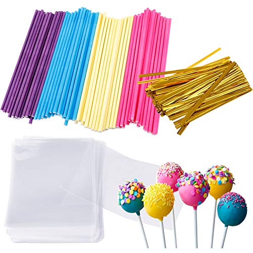 Augshy 300 Pcs Colorful Cake Pops Making Tools,More Larger Than Other Lollipop Sticks and Clear -