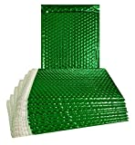 ABC 250 Pack Metallic Bubble mailers 6.5 x 10.5. Green Padded envelopes 6 1/2 x 10 1/2. Glamour Bubble mailers. Peel and Seal. Padded mailing envelopes for Shipping, Packing, Packaging. Wholesale.
