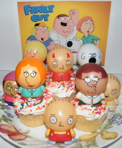 Stewie Griffin Family Guy - Family Guy Figure Cake Topper Cupcake Party Decoration Set of 8 with Devil Stewie, Peter, Lois, Brian, Meg and More!