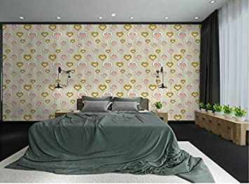 CNMDGBWY Einfache Rose Herz Herz Wallpaper Schlafzimmer Wohnzimmer  Hintergrund Kleidung Shop Rosa Lila Tapete, Rosa
