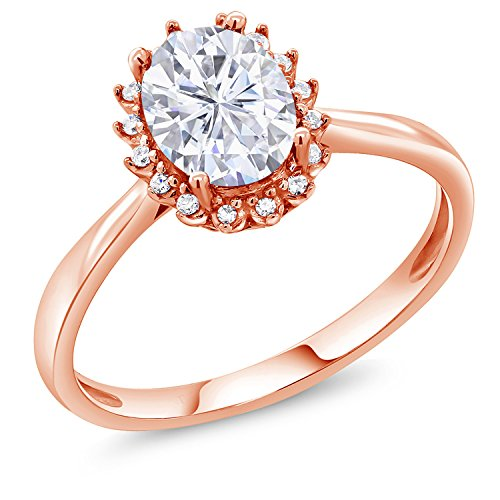 10K Rose Gold Fashion Right-Hand Ring Forever Classic Oval 1.50ct (DEW) Created Moissanite by Charles & Colvard (Size (Fashion Right Hand Ring)
