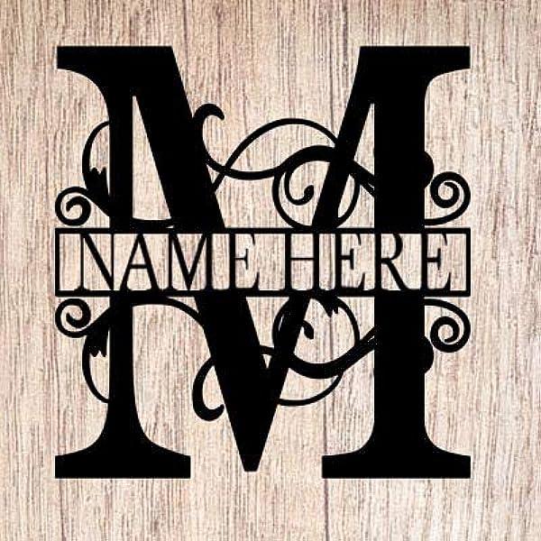 Amazon Com Ajd Designs Personalized Last Name M Door Hanger 20 Metal Monogram Door Hanger Metal Last Name Sign Split Letter Monogram Initial Door Wreath Last Name Wall Decor