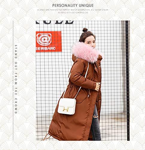 Pelliccia Outdoor Cappotto Outerwear Donna Khaki Con Moda Sciolto Eleganti Casual Alta Di Giaccone Cappuccio Marca Caldo Lunga Mode Cappotti Vita Addensare Invernali In Manica 7ffHqFrwT